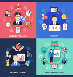 coaching concept icons set vector image