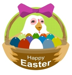 Hen holding basket with Easter eggs Happy Easter vector image