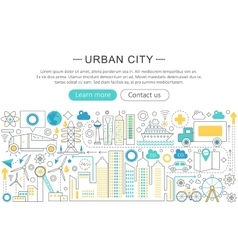 modern line flat design Urban city concept vector image vector image