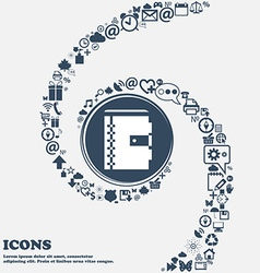 notebook icon in the center Around the many vector image