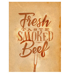 poster smoked beef craft vector image
