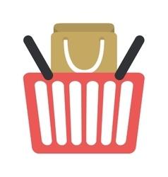 Red basket shopping bag gift online vector