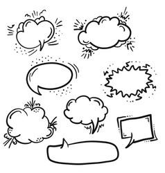 set of black outline retro comic speech bubbles vector image