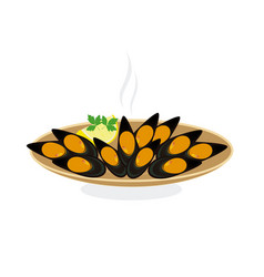 steamed mussels vector image