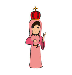 virgin mary with crown holy family icon image vector image