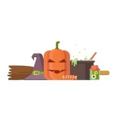 Halloween with pumpkin and other vector image