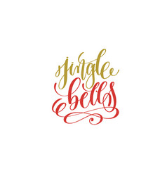 jingle bells hand lettering holiday inscription to vector image