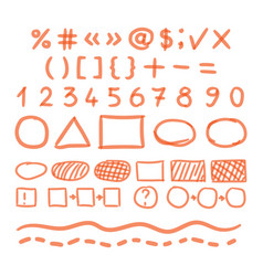 marker hand written doodle numbers and symbols vector image vector image