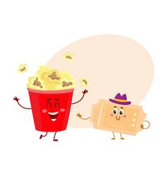 cinema popcorn and vintage movie ticket characters vector image