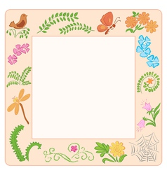 frame with nature elements vector image