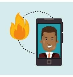 man smartphone insurance secure vector image