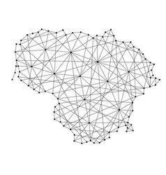map of lithuania from polygonal black lines vector image vector image