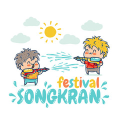Songkran water festival in thailand vector