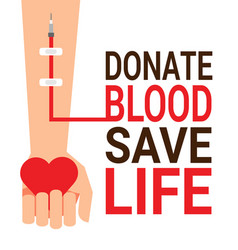 hand of blood donor with heart for world blood vector image vector image