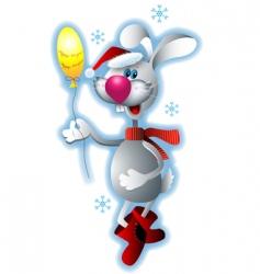 Santa rabbit vector image vector image