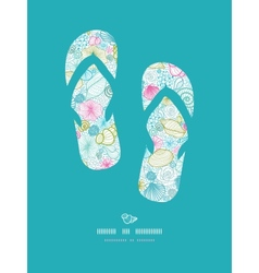 Seashells line art flip flops decor pattern vector image vector image