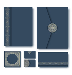 set of folders with vintage vector image