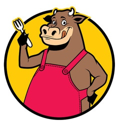 smiling cow wearing apron vector image