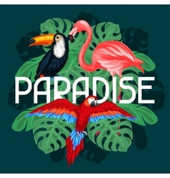 Tropical birds print design with palm leaves vector
