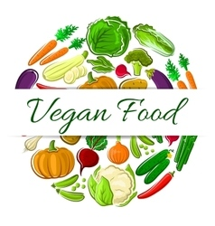 Vegan food decoration round emblem vector image