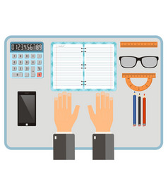 Workplace concept top view hands notebook vector