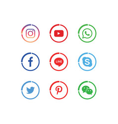 A collection popular social media icons vector