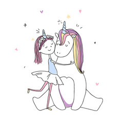 a cute girl hugs a unicorn hand drawn vector image