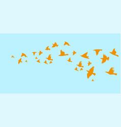 a flock flying birds starlings vector image
