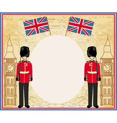 Abstract frame with a flagBeefeater soldier and vector image