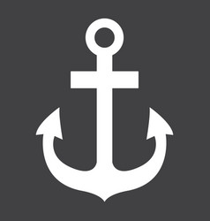 anchor glyph icon navigation and nautical vector image