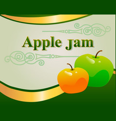Apple jam label design template vector