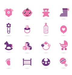 Baby girl icons vector