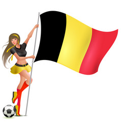 Beautiful young girl holding flag of belgium vector