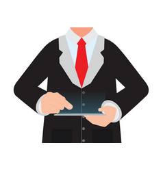 Business man holding a digital tablet vector