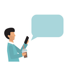Business man holding smartphone with speech bubble vector