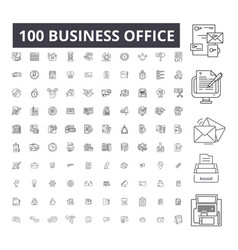 business office editable line icons 100 vector image