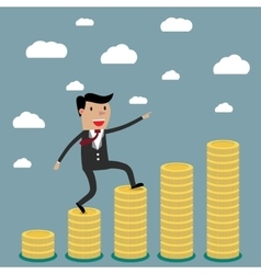 Businessman step on stack of coin vector