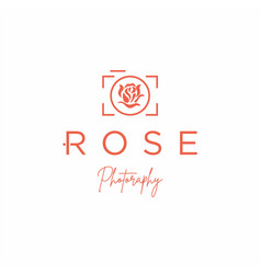 camera with rose flower for photography logo vector image