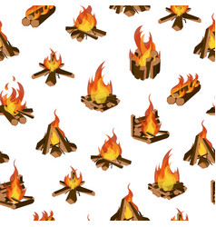 cartoon fire wood and campfire seamless pattern vector image