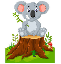 cartoon koala presenting on tree stump vector image vector image