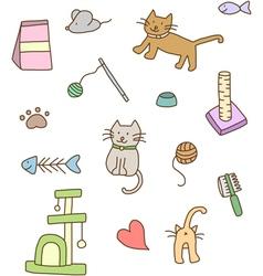Cat stuff doodle vector
