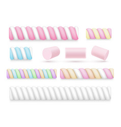 collection colorful realistic marshmallow vector image