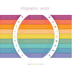 Colorful strips and white semicircles for text 9 vector