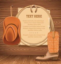 Cowboy hat and american lasso old paper for text vector