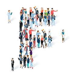 crowded isometric people typeface vector image