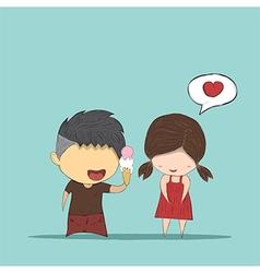 Cute cartoon boy give ice cream girl cute vector image