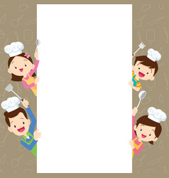 Cute family happy cooking with space frame vector
