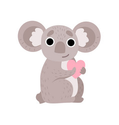 cute koala bear holding pink heart funny grey vector image