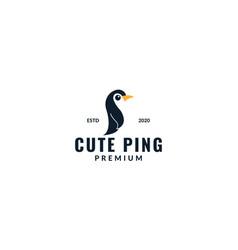 Cute penguin kid or baby cartoon modern logo vector