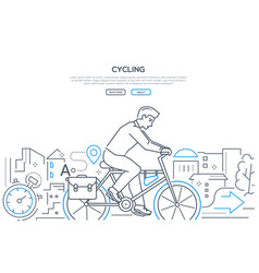 Cycling - modern line design style web banner vector